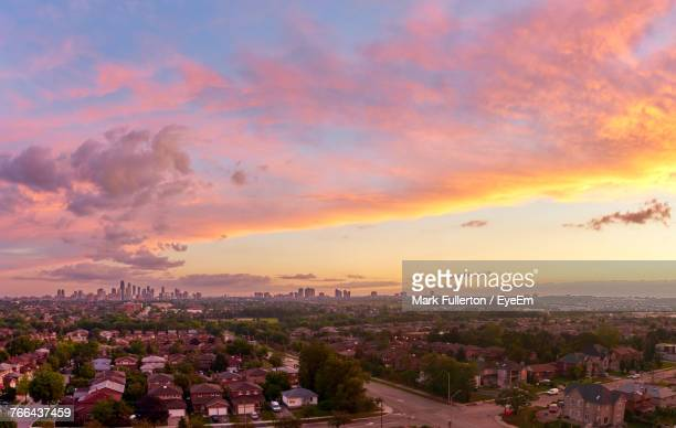 cityscape against sky during sunset - mississauga stock pictures, royalty-free photos & images