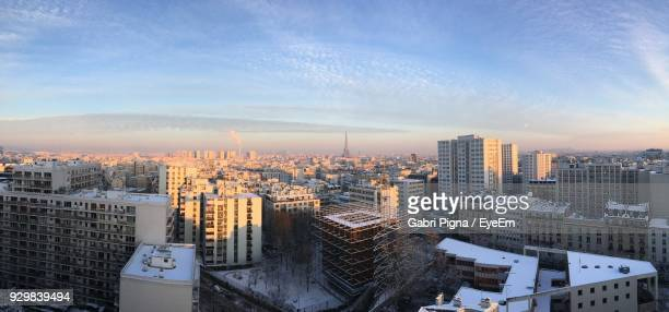 cityscape against sky during sunset - ile de france stock pictures, royalty-free photos & images
