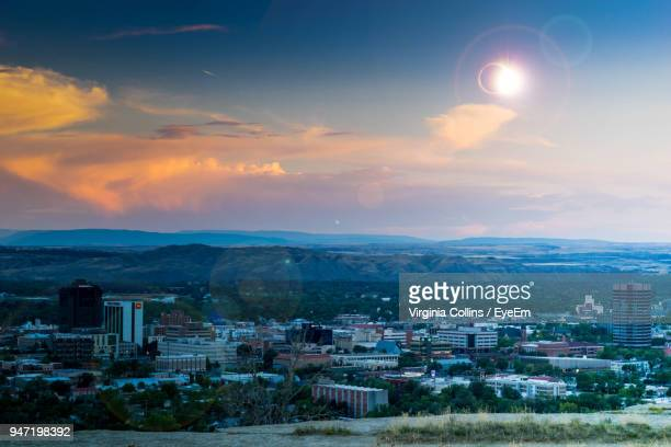 cityscape against sky during sunset - billings montana stock pictures, royalty-free photos & images