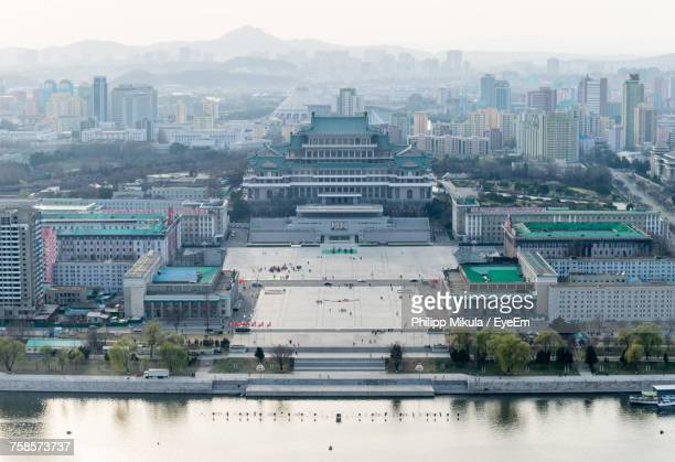 cityscape against sky - pyongyang stock pictures, royalty-free photos & images