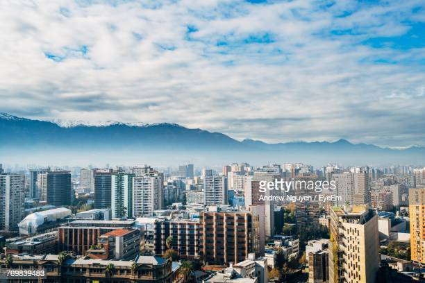 cityscape against sky - santiago chile stock pictures, royalty-free photos & images