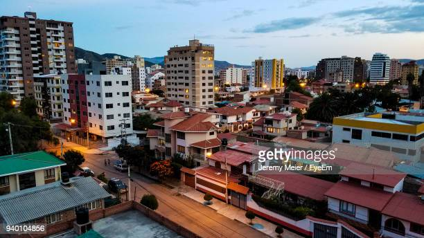cityscape against sky - cochabamba stock pictures, royalty-free photos & images