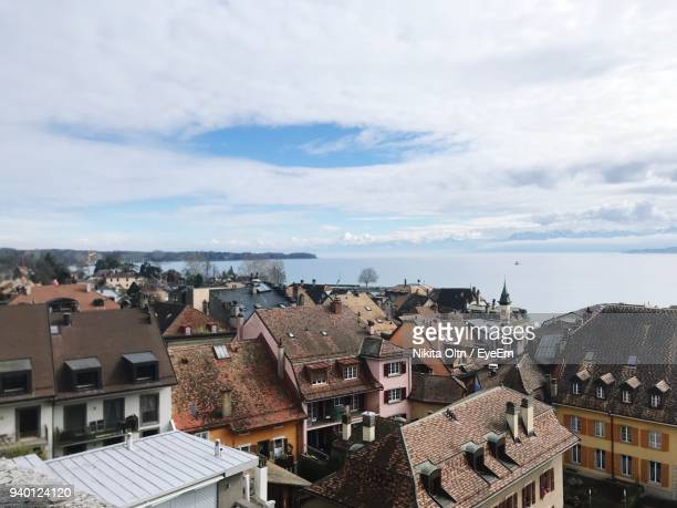cityscape against sky - nyon stock pictures, royalty-free photos & images