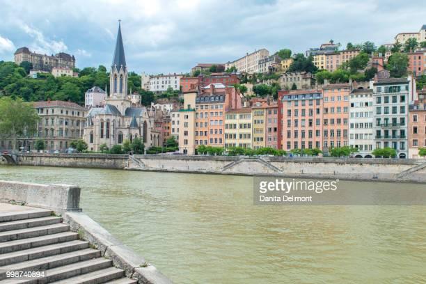 cityscape along saone river, lyon, france - centro storico foto e immagini stock