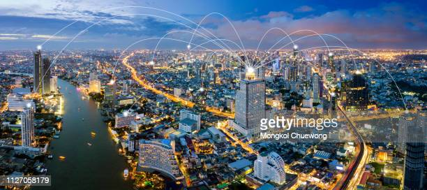cityscape and network connection concept , network in business district - medical icons stock pictures, royalty-free photos & images