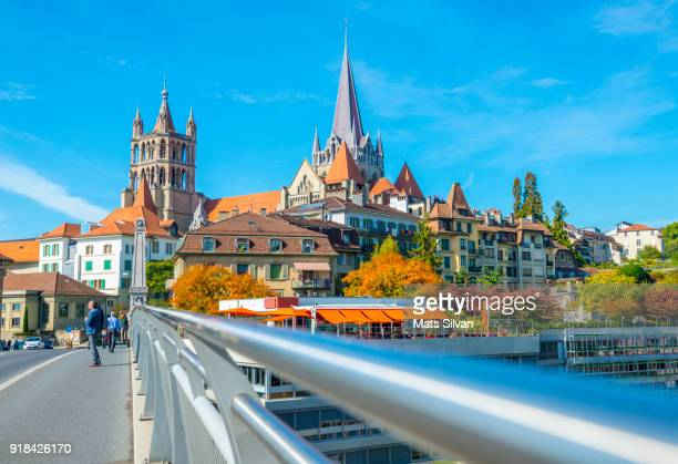 cityscape and railing over lausanne in a sunny day - lausanne stock pictures, royalty-free photos & images