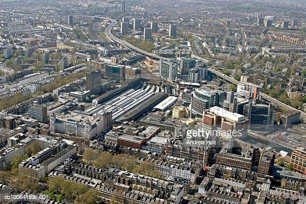cityscape and railway station, aerial view - st mary's hospital paddington stock pictures, royalty-free photos & images