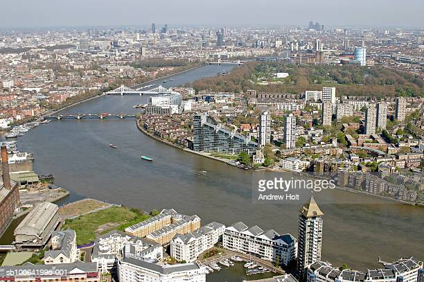 cityscape and river thames, aerial view - battersea park stock photos and pictures