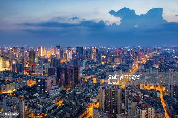 cityscape and skyline of modern city at night