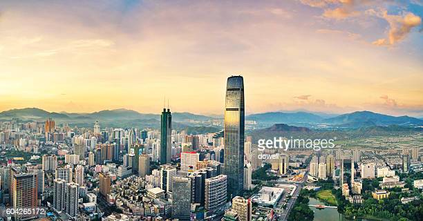 cityscape and skyline of shenzhen at sunrise