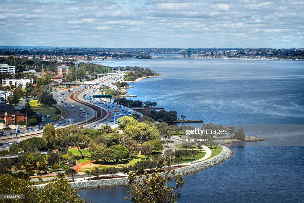Cityscape and Swan River view from Kings Park, Perth, Western Australia, Australia : Stock Photo