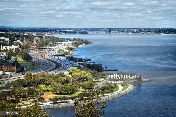 Cityscape and Swan River view from Kings Park, Perth, Western Australia, Australia