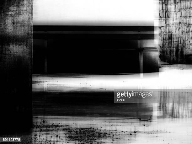 Cityscape and Urban Exploration : Bench & Reflection - B&W