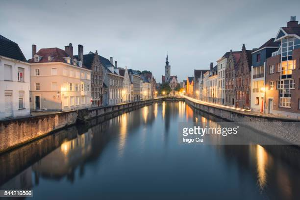 cityscape at blue hour in bruges - belgium stock pictures, royalty-free photos & images