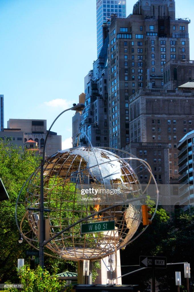 Cityscape at Columbus Circle with globe structure, Manhattan, New York City, USA : Stock Photo