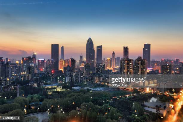 Cityscape at dusk, Hankou, Wuhan, Hubei, China