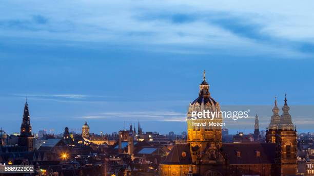 Cityscape at dusk of Amsterdam