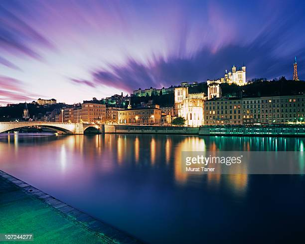cityscape at dusk - lyon stock pictures, royalty-free photos & images