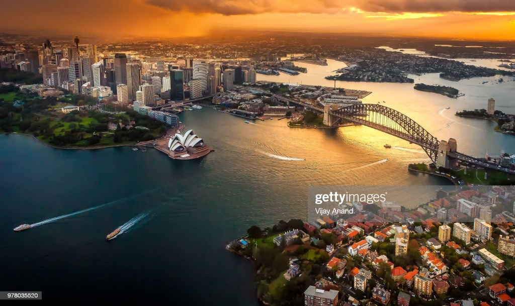 Cityscape at dusk, Sydney, Australia : Stock Photo