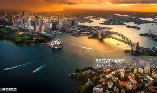 cityscape at dusk, sydney, australia - australia stock pictures, royalty-free photos & images