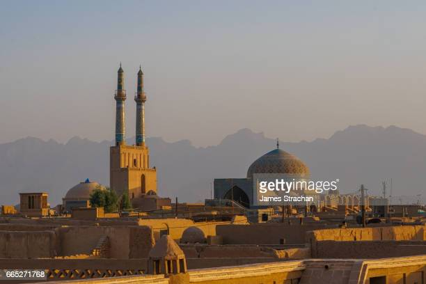 Cityscape at dusk with Jameh Mosque, Yazd, Iran