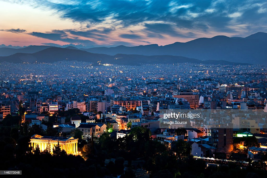 Cityscape at night, athens, greece : Stock Photo