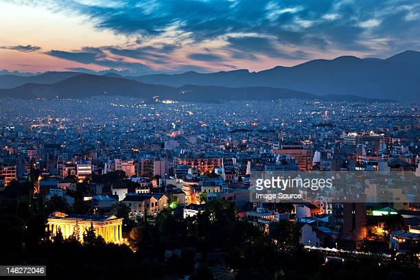 Cityscape at night, athens, greece