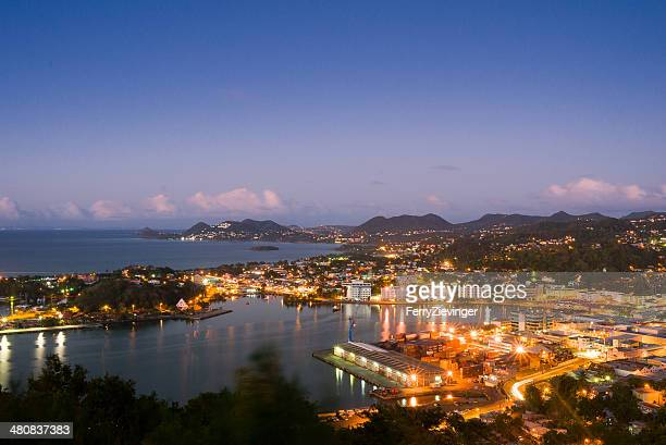 cityscape at night, castries, saint lucia, caribbean - st. lucia stock pictures, royalty-free photos & images