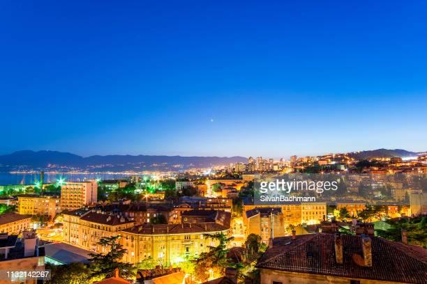 cityscape at night, rijeka, croatia - rijeka stock pictures, royalty-free photos & images