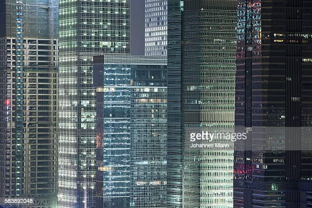 cityscape at night, shenzhen, guangdong province, china - prosperity stockfoto's en -beelden