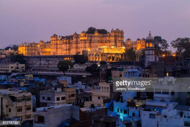 Cityscape at night, Udaipur, Rajasthan, India