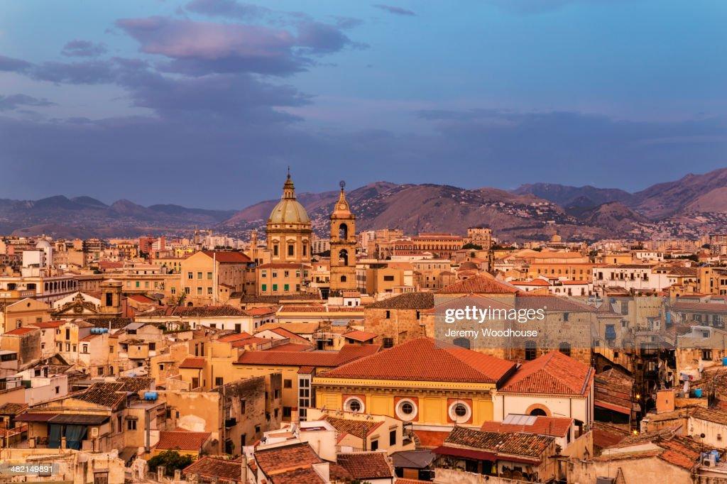 Cityscape at sunrise, Palermo, Sicily, Italy : Stock Photo