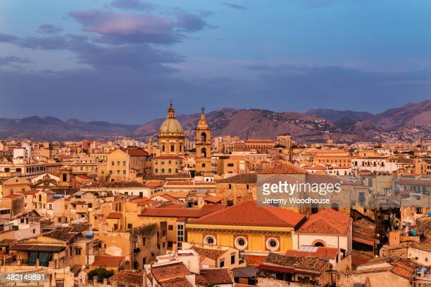 Cityscape at sunrise, Palermo, Sicily, Italy