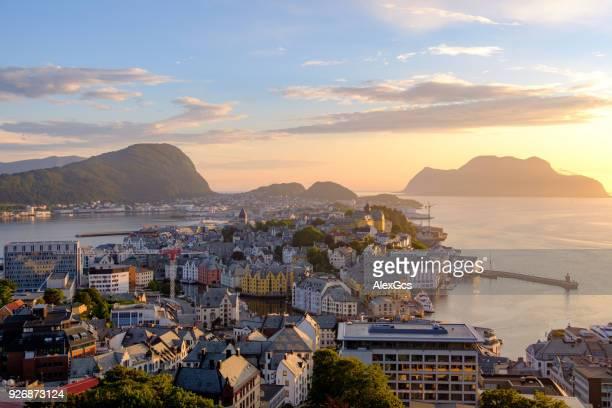Cityscape at sunset, Alesund, More og Romsdal, Norway