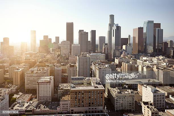 cityscape at sunset, los angeles, los angeles county, california, usa - city of los angeles stock pictures, royalty-free photos & images