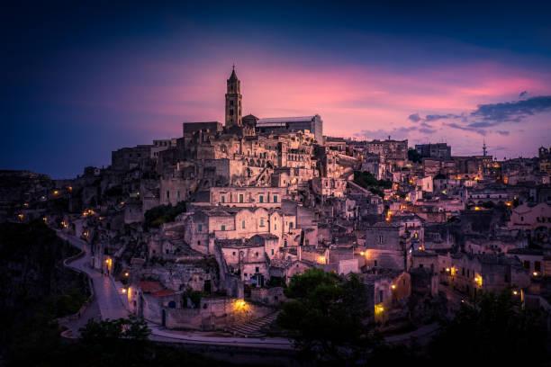 Cityscape at sunset, Matera, Basilicata, Italy