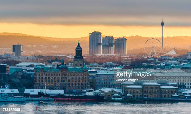 cityscape at sunset - gothenburg stock pictures, royalty-free photos & images