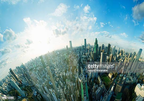 cityscape at sunset,elevated view - horizon over land stock photos and pictures