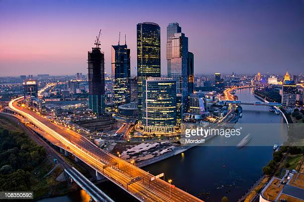 cityscape at twilight. bird's eye view - moscow russia stock pictures, royalty-free photos & images
