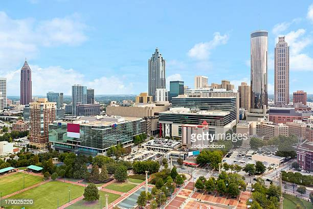 cityscape: atlanta georgia skyline daytime - atlanta georgia stock pictures, royalty-free photos & images