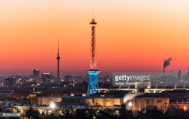 cityscape berlin, germany, europe - berliner funkturm stock-fotos und bilder