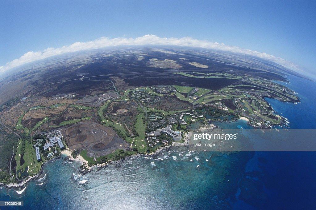 Cityscape coastline of Big Island, Hawaii, fisheye view : Stock Photo