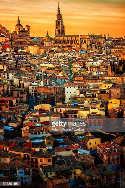 cityscape during sunset - madrid stock pictures, royalty-free photos & images