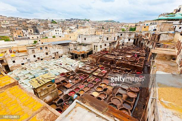 Cityscape Fez Fes Leather Tannery Morocco Africa