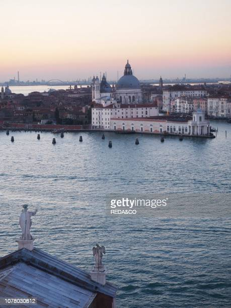Cityscape from San Giorgio bell tower Punta della Dogana and Chiesa della Salute church in the background Marghera Venice Veneto Italy Europe