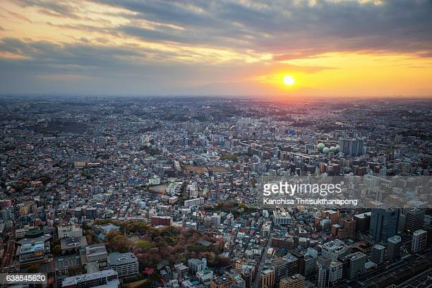 Cityscape from top view and sunset