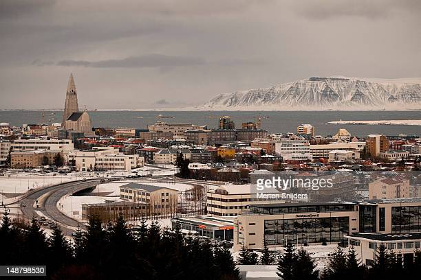 cityscape, hallgrims church and fjords, from oskjuhlith. - merten snijders stock pictures, royalty-free photos & images