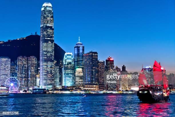 Stadtbild Hongkong und Junkboat in der Dämmerung