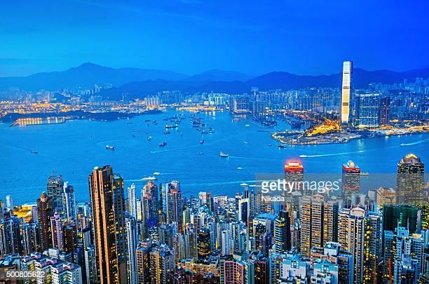 Cityscape Hong Kong at Twilight