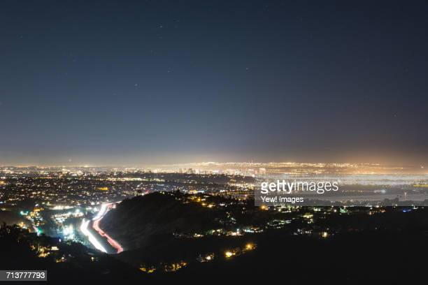 Cityscape illuminated at night, San Diego, California, USA